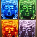 Four Buddha paintings: blue, green, orange and purple